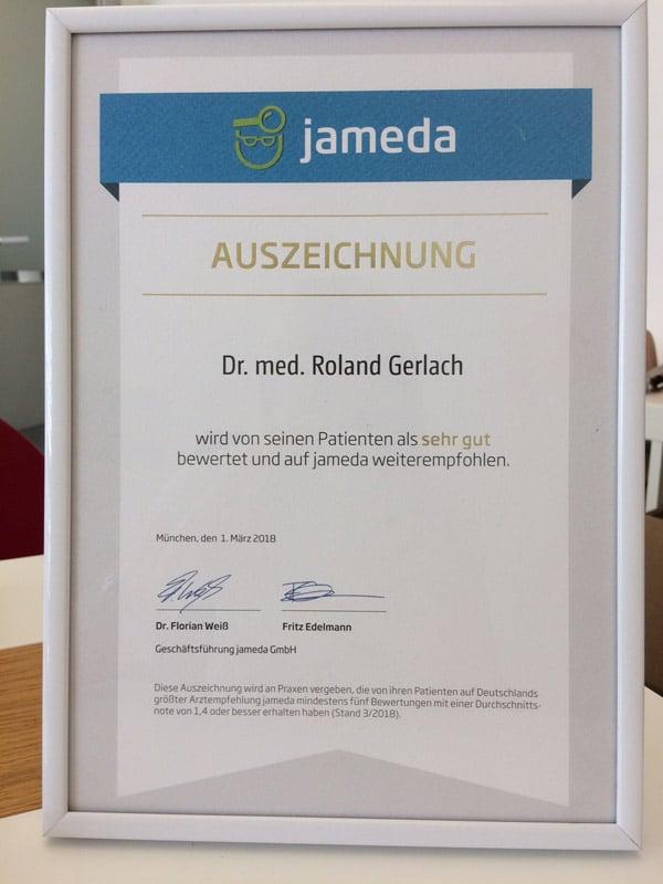 Jameda Auszeichnung Roland Gerlach