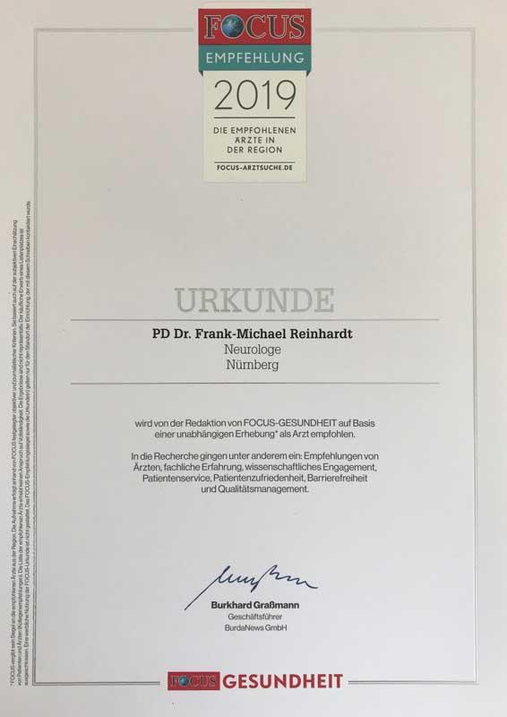 PD. Dr. med. Frank-Michael Reinhardt (Facharzt Neurologie) führt zusammen mit Dr. Roland Gerlach (Facharzt Neurologe und Innere Medizin) erfolgreich die Privatpraxis Neuropuls Ärztepartnerschaft in der Metropolregion Nürnberg/ Fürth/ Erlangen. Ab sofort ist er nun auch in die FOCUS Ärzteliste aufgenommen, darauf sind beide sehr stolz.
