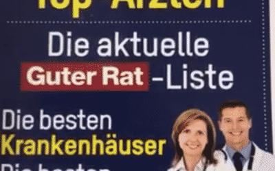 """Frank Reinhardt ist wieder unter den """"Top Ärzten"""" des Verbrauchermagazins """"Guter Rat"""""""
